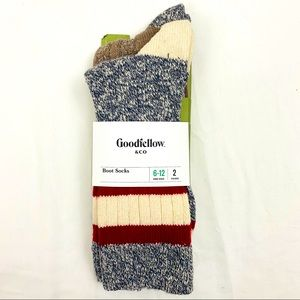 2Pk Men's Boot Socks Striped Solid Goodfellow